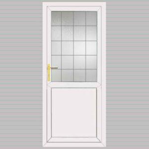 Half Glazed Flat Panel Georgian Bar Design uPVC Back Door
