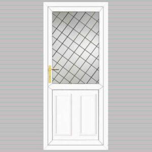 Half Glazed Edwardian Panel Diamond Lead Design uPVC Back Door