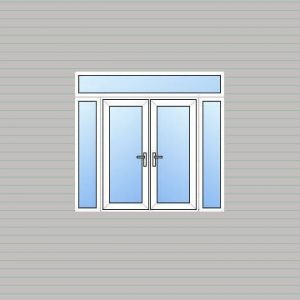 uPVC French Doors with Side Panels & Fan Light
